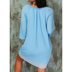 Lace Long Sleeves Shift Above Knee Casual/Boho/Vacation Tunic Dresses