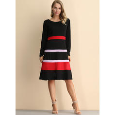 Striped Long Sleeves A-line Knee Length Vintage/Casual/Elegant Dresses