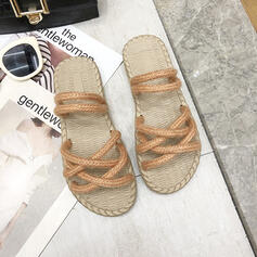 Women's Fabric Flat Heel Sandals Peep Toe Slippers With Others shoes
