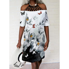Floral/Color Block/Animal Print/Hollow-out 1/2 Sleeves Shift Knee Length Casual Tunic Dresses