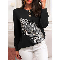 Print Beaded Round Neck Long Sleeves Casual T-shirts