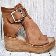 Women's Leatherette Wedge Heel Sandals Platform Wedges Heels With Buckle Hollow-out shoes