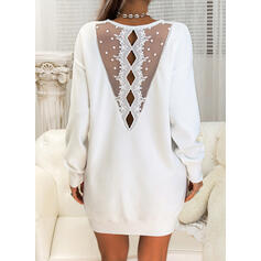 Lace/Solid Long Sleeves Shift Above Knee Casual Sweater Dresses