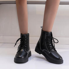 Women's Leatherette Flat Heel Ankle Boots Martin Boots With Lace-up shoes