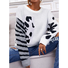 Leopard Round Neck Casual Sweaters