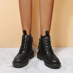 Women's PU Low Heel Ankle Boots Martin Boots Round Toe With Zipper Lace-up shoes
