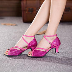 Women's Latin Heels Sandals Pumps Sparkling Glitter With Ankle Strap Hollow-out Sequin Latin