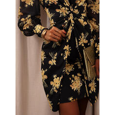 Print/Floral Long Sleeves/Puff Sleeves Bodycon Above Knee Party/Elegant Dresses
