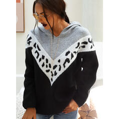 Print Color Block Chunky knit Hooded Casual Sweaters