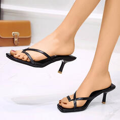 Women's PU Stiletto Heel Sandals Peep Toe Slippers With Hollow-out shoes