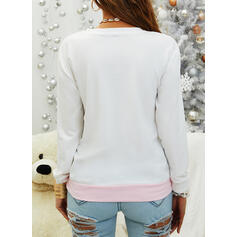 Color Block Sequins Round Neck Long Sleeves T-shirts