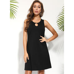 Solid Sleeveless Shift Above Knee Little Black/Casual/Vacation Tank Dresses