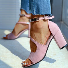 Women's Suede Chunky Heel Sandals Peep Toe With Hollow-out Solid Color shoes
