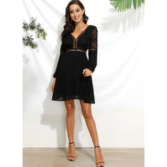 Lace/Solid Long Sleeves/Puff Sleeves A-line Above Knee Little Black/Sexy/Party Skater Dresses