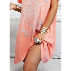 Print/Floral/Heart Short Sleeves Shift Above Knee Casual T-shirt Dresses