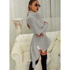 Solid Cable-knit Turtleneck Casual Long Sweater Dress
