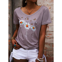 Floral Animal Print Letter V-Neck Short Sleeves Casual T-shirts