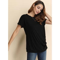 Solid Round Neck Short Sleeves Button Up Casual Knit Blouses