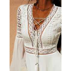 Lace/Solid Long Sleeves/Flare Sleeves A-line Above Knee Casual/Vacation Dresses