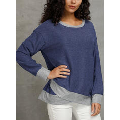 Solid Round Neck Long Sleeves Casual Knit T-shirts