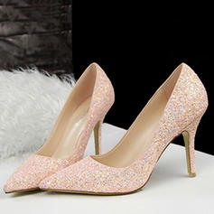 Women's Leatherette Stiletto Heel Closed Toe Pumps With Sparkling Glitter