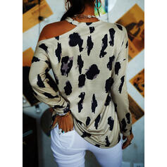 Print Leopard Letter One Shoulder Long Sleeves Casual Blouses