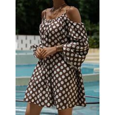 PolkaDot 3/4 Sleeves Shift Above Knee Casual Tunic Dresses