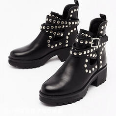 Women's PU Chunky Heel Martin Boots Low Top With Rivet Buckle Hollow-out shoes