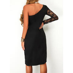 Solid Lace Long Sleeves Bodycon Above Knee Little Black/Casual Dresses