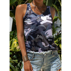 Print Round Neck Short Sleeves Casual Tank Tops