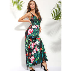 Print/Floral Sleeveless A-line Skater Sexy/Casual/Vacation Maxi Dresses