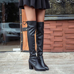 Women's PU Chunky Heel Knee High Boots Pointed Toe With Zipper Lace-up shoes