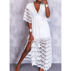 Solid Lace 1/2 Sleeves Bat Sleeve A-line Skater Casual Maxi Dresses