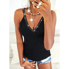 Solid Knit Sequins V-Neck Sleeveless Tank Tops