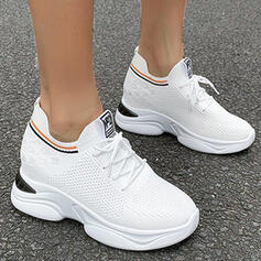 Women's Flying Weave Flat Heel Flats Low Top Round Toe Sneakers With Lace-up Splice Color shoes