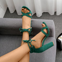 Women's Suede Chunky Heel Pumps Peep Toe With Buckle shoes