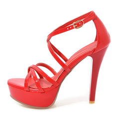 Women's PU Stiletto Heel Sandals Pumps Platform Peep Toe With Buckle shoes