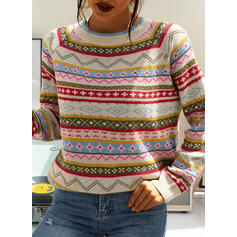 Print Chunky knit Round Neck Casual Sweaters