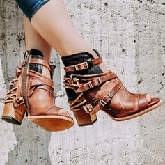 Women's Leatherette Chunky Heel Sandals Boots Peep Toe Ankle Boots High Top With Buckle Zipper shoes