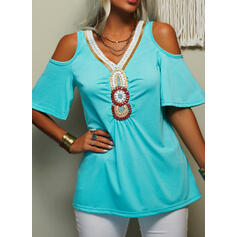 Print Cold Shoulder Short Sleeves Casual Blouses