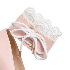 Women's PU Chunky Heel Pumps Platform With Lace-up Flower shoes
