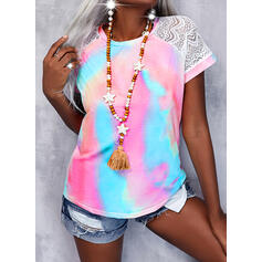 Lace Tie Dye Round Neck Short Sleeves Casual Blouses