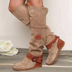 Women's PU Flat Heel Boots Round Toe With Buckle shoes