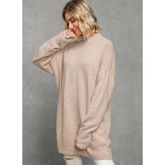 Solid Turtleneck Casual Loose Sweater Dress