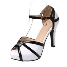 Women's Leatherette Patent Leather Stiletto Heel Sandals Pumps Platform Peep Toe shoes