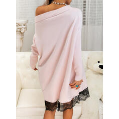 Solid Lace Off the Shoulder Casual Long Sweater Dress