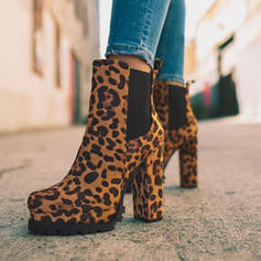 Women's Suede Chunky Heel Ankle Boots Round Toe Slip On With Animal Print Elastic Band shoes