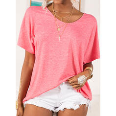 Solid Round Neck Short Sleeves Casual Basic Knit T-shirts