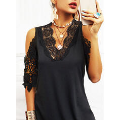 Lace/Solid 1/2 Sleeves Sheath Knee Length Little Black/Casual Dresses