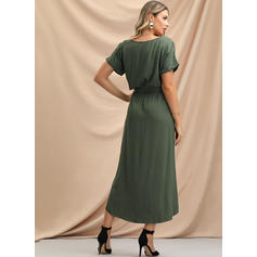 Solid Short Sleeves A-line Asymmetrical Casual Dresses